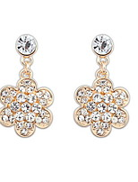 Shinning Simple Flower and White Rhinestone Pierced Drop Earrings Women Nice Jewelry