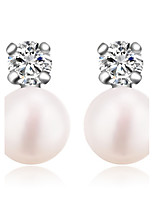 Women Nice Jewelry Shinning Real 925 Silver Round Rhinestone Fresh Water Fresh Water Pearl Stud Earrings