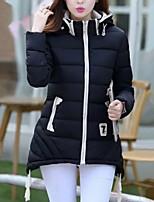 Women's Print Blue / Black / Brown / Gray Padded Coat,Plus Size Hooded Long Sleeve