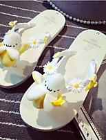 Chaussures Femme-Extérieure / Habillé / Décontracté-Blanc / Beige-Talon Plat-Tongs-Chaussons-Cuir Verni