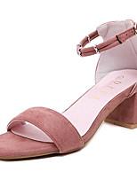 Women's Shoes Fleece Summer Heels Outdoor / Casual Chunky Heel Buckle Black / Pink / Gray