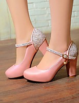 Women's Shoes Leatherette Chunky Heel Heels Heels Office & Career / Party & Evening / Dress Blue / Pink / White
