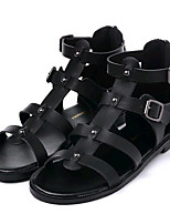Women's Shoes Leatherette Summer Comfort Outdoor / Casual Flat Heel Zipper Black / White