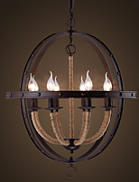 American  Industrial Loft Circular Wrought Iron Candle Chandelier Nordic Retro Cafe Restaurant Bar Globe Chandelier