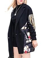 Women's Patchwork Black Padded Coat,Plus Size Shirt Collar Long Sleeve