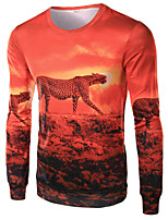 Men's Long Sleeve T-Shirt,Cotton / Acrylic Casual / Sport Print 916023