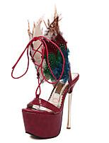 Damesschoenen-Huwelijk / Formeel / Feesten & Uitgaan-Bordeaux-Stilettohak-Hoge hakken / Open neus-Sandalen-Leer