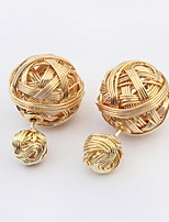 Fashion Earring Sweet Double Side Beads Golden Imitation Pearl Earrings Weaved Design Fashion Earring For Women