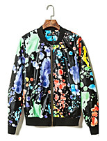 Men's Long Sleeve Casual Jacket,Polyester Print Black