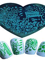 1pcs Nail Art Heart-shaped Stamping Template Colorful Flower Elegant Scenery Image Design Nail Art Tools 26-28