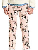Girl's Pink Pants,Cartoon Cotton All Seasons