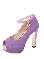 Chaussures Femme-Mariage / Habillé / Décontracté / Soirée & Evénement-Violet / Rouge / Argent-Talon Aiguille-Talons-Sandales / Talons-PU