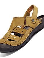 Zapatos de Hombre-Sandalias-Exterior / Casual-Cuero-Marrón / Caqui