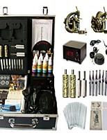 Basekey Tattoo Kit 2 Guns JHK0142 Machine With Power Supply Grips Cleaning Brush Ink Needles