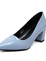 Women's Shoes Patent Leather Spring / Summer Heels Heels Office & Career / Dress Chunky Heel Slip-on Black / Blue