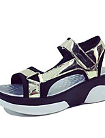 Women's Shoes Leatherette Summer Creepers Outdoor / Casual Platform Buckle Pink / White / Silver / Gold