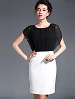 Baoyan® Women's Round Neck Short Sleeve Above Knee Dress-150222