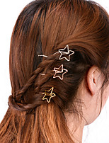 Women Simple Handmade Hollow Star Hair Clips Alloy Hair Accessories 1pc