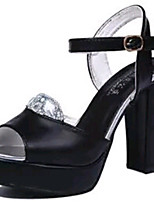 Women's Shoes PU Chunky Heel Heels Sandals / Heels Wedding / Party & Evening / Dress / Casual Black / White
