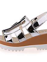 Women's Shoes PU Wedge Heel Open Toe Sandals Outdoor / Dress / Casual Black / White / Silver