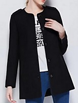 Women's Solid Black / Gray Pea Coats,Street chic Long Sleeve Polyester