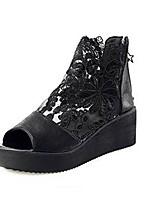 Women's Shoes PU / Tulle Platform Peep Toe / Platform Sandals Outdoor / Casual Black / White