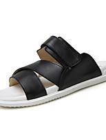 Zapatos de Hombre-Sandalias-Casual-PU-Negro / Blanco