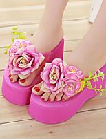 Damenschuhe-Pantoffeln-Outddor / Kleid-Stoff-Plateau-Flip Flops-Rosa / Rot / Weiß