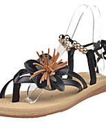 Women's Shoes PU Flat Heel Toe Ring / Mary Jane Sandals Outdoor / Casual Black / White