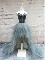 Formal Evening Dress Ball Gown Sweetheart Chapel Train Satin / Tulle with Feathers / Fur