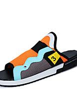 Zapatos de Hombre-Sandalias / Sin Cordones-Exterior / Casual-Tejido-Negro / Blanco / Naranja