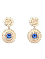 Good Quality New Brand Design Women Jewelry 4 Colors Rhinestone Statement Punk Double Circle Drop Earrings