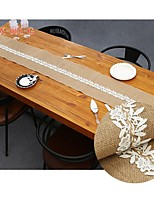 30*180cm Natural Jute Burlap  Yellow Linen with Lace Decor  for Wedding Table Runners Cover