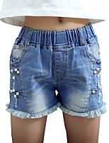 Girl's Cotton Denim Shorts Nail Bead Tassels Denim Shorts