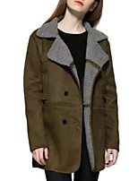 Women's Solid Green Coat,Street chic Long Sleeve Others