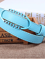Women Leather Diamond-Studded Skinny Belt,Cute / Party / Casual Alloy