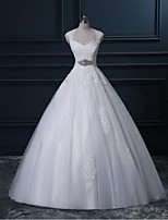 A-line Wedding Dress-Ivory Sweep/Brush Train Queen Anne Lace / Tulle