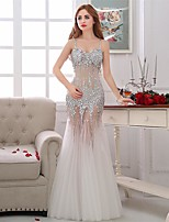 Formal Evening Dress-Ivory Trumpet/Mermaid Spaghetti Straps Floor-length Tulle