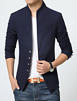 Men's Long Sleeve Casual Jacket,Cotton / Spandex Solid Blue / Red