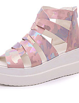 Women's Shoes PU Wedge Heel Peep Toe Sandals Outdoor / Dress / Casual Pink / White