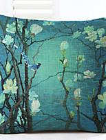 Novelty Floral Pattern Linen Pillowcase Sofa Home Decor Cushion Cover (18*18inch)