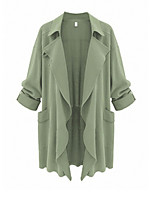 Women's Solid Black / Green Coat,Simple Long Sleeve Polyester