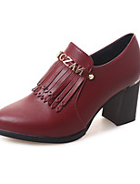 Women's Shoes PU Chunky Heel Pointed Toe Heels Outdoor / Office & Career / Casual Black / Burgundy