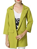 Women's Solid Blue / Gray / Green Coat,Street chic ¾ Sleeve Polyester