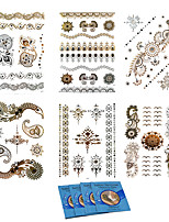 6Pcs Temporary Tattoo Body Art Metallic Silver Metallic Tattoos Gold  Foil Golden Jewelry +8Pcs Cleansing Wipes