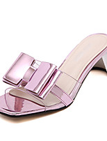 Women's Shoes Silicone Chunky Heel Open Toe Sandals Dress Pink / Silver / Gold