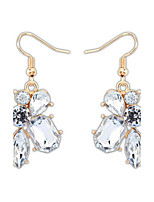 Fashion Sweet Women Simulated Gemstone Pure and Fresh Irregular White Rhinestone Drop Earrings