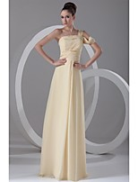 Formal Evening Dress-Daffodil A-line One Shoulder Floor-length Chiffon