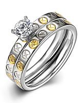 2016 Luxury Galaxy Silver Zircon Titanium Steel Romantic Wedding Couple Ring
