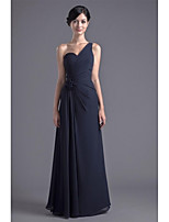 Formal Evening Dress-Dark Navy Sheath/Column One Shoulder Floor-length Chiffon